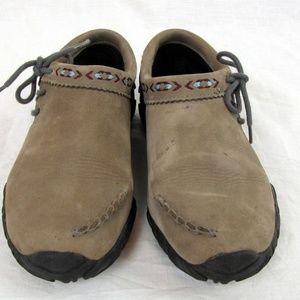 Teva Tan Brown Suede Slip-On Shoes Size 8 Side Tie